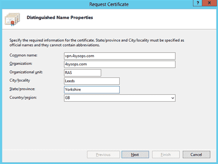 Creating the certificate signing request