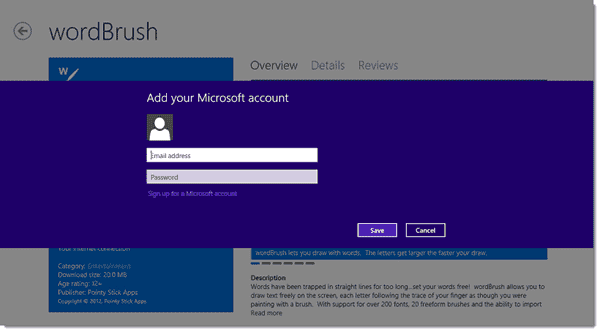 Default Windows Store setting