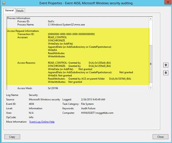 Detailed audit entry data