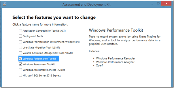 Installing Windows Performance Toolkit