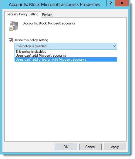 Locking down Microsoft Account usage