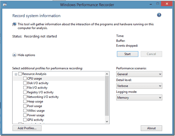 The Windows Performance Recorder tool