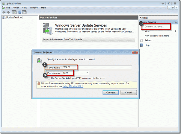 Connect to WSUS