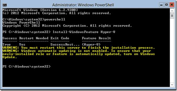 Install Hyper-V on Server Core
