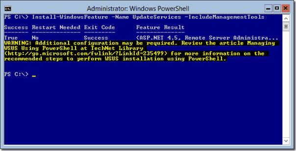 Install WSUS on Server 2012