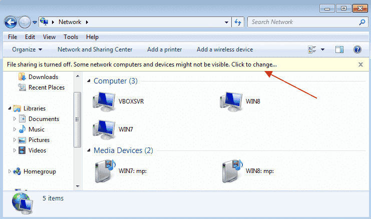 network discovery is turned on but not working