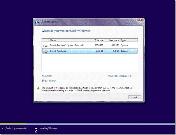 Windows 8 Setup - Partitions