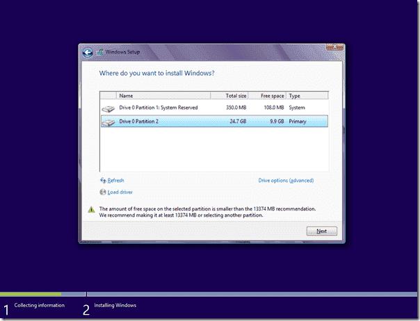 Windows 8 Setup - Partitions