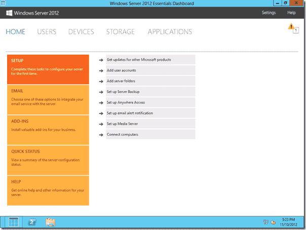 Windows Server 2012 Essentials - Dashboard