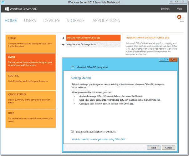 Windows Server 2012 Essentials2 - Office 365 Integration