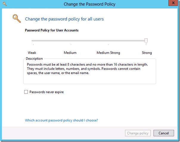 how to change windows server 2012 password policy