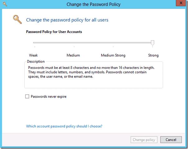 Windows Server Essentials 2012 - Password Policy