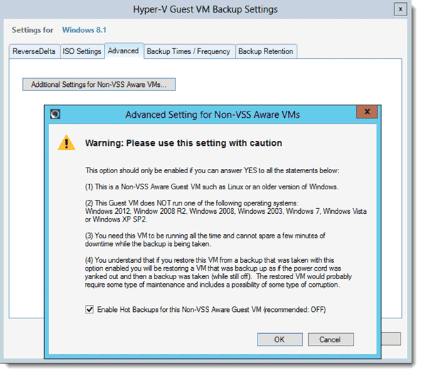 Altaro Hyper-V Backup - Non-VSS-aware virtual machines
