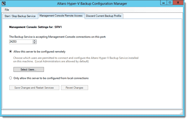 Altaro Hyper-V Backup - Remote Administration