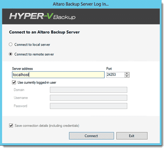 Altaro Hyper-V Backup - Remote admin connection