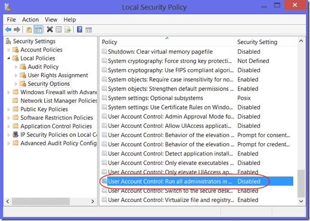 Disable UAC Admin Approval mode