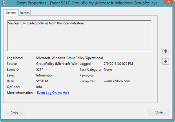 Group Policy Cache - Event ID 5217