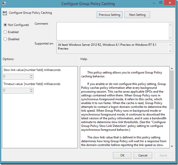Group Policy Caching