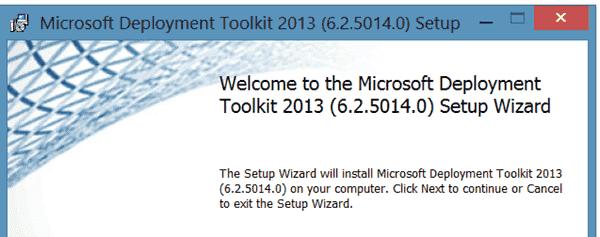 MDT 2013 Setup Wizard