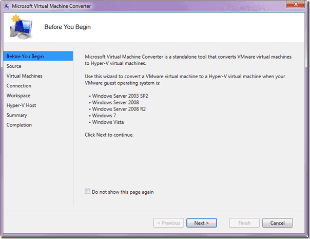Microsoft Virtual Machine Converter -Start