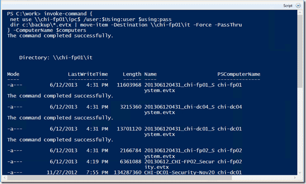 Remote backup with Powershell