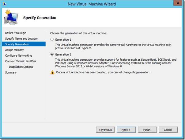 Windows Sever 2012 R2 - Hyper-V Genration 2