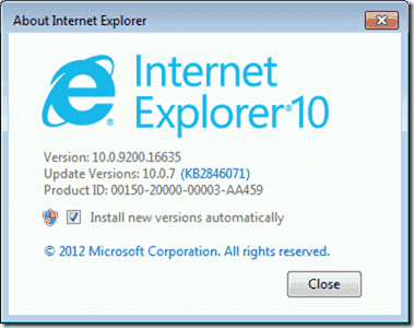 Check Internet Explorer version