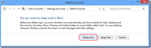 Delete user account with all files