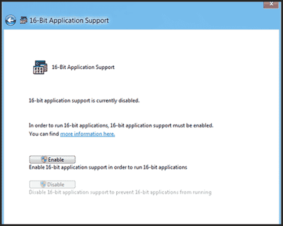 Enable 16-bit applications