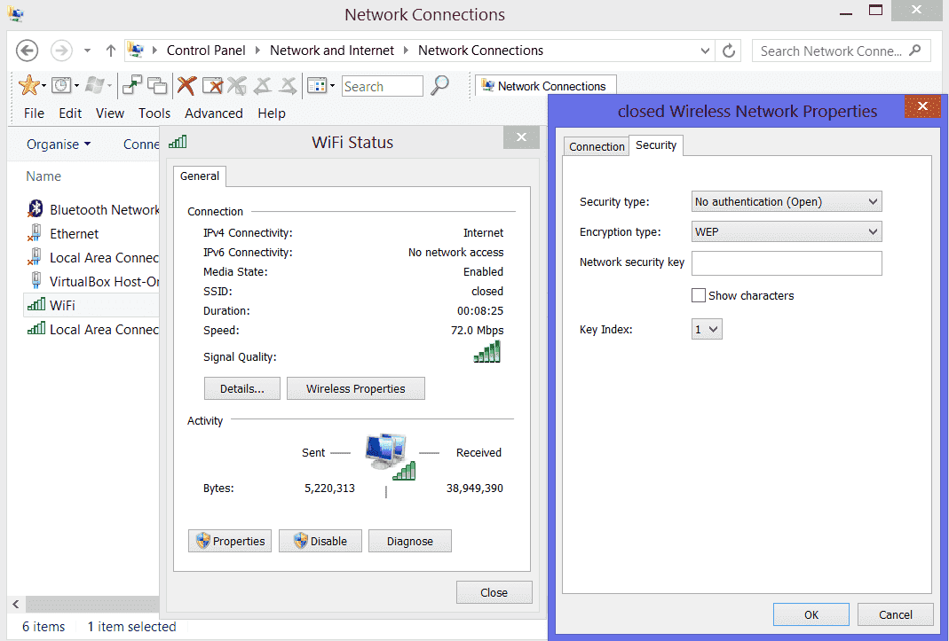 Share Windows 8 WiFi using WEP Encryption