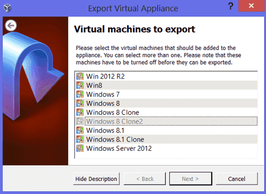 Export Virtual Appliance