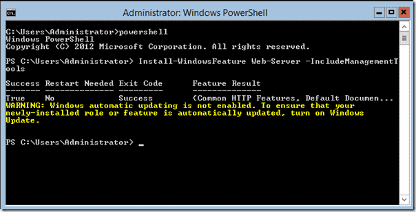 Install IIS with PowerShell