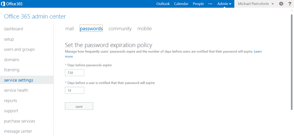 Set office 365 password expiration policy to never expire - Office 365 server settings for outlook 2013 ...