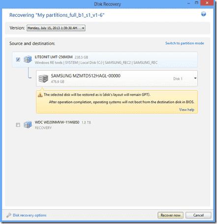 Restore a GPT partition scheme with True Image