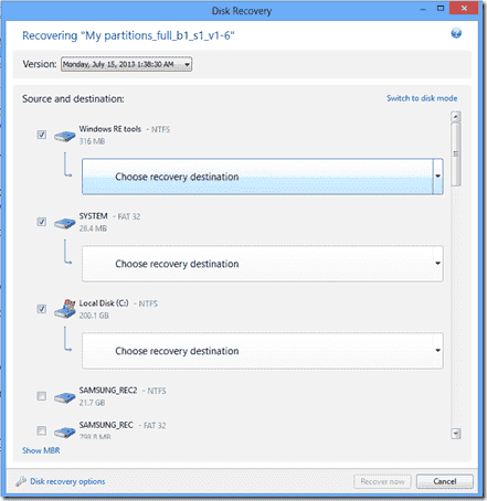 Restore a UEFI installation as BIOS installation with True Image