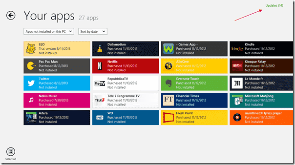 Updates of Windows 8 apps are available