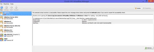 VirtualBox inaccessible VMs
