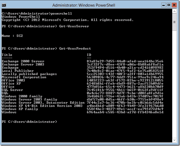 WSUS PowerShell cmdlets