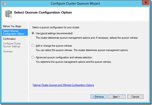 Configure Cluster Quroum