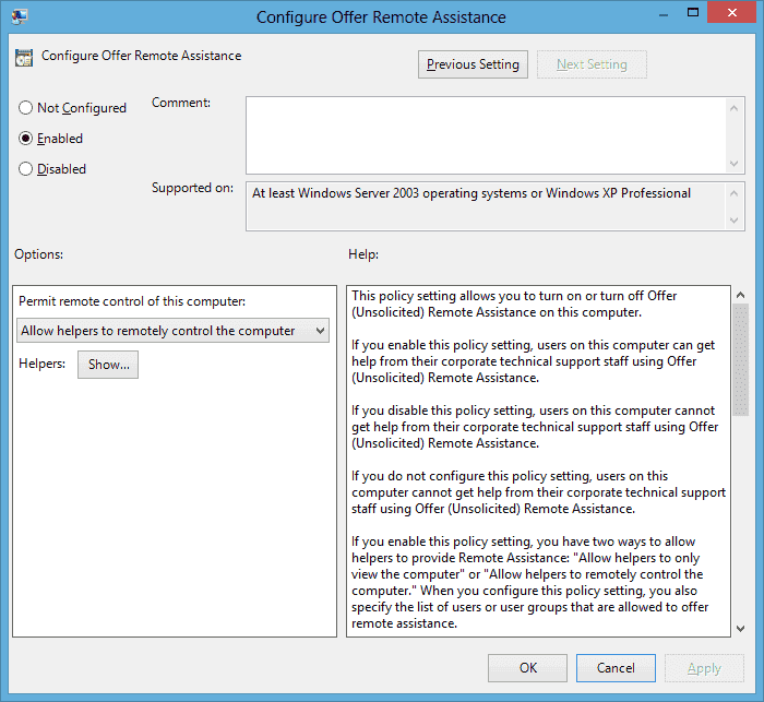 How to enable Unsolicited Remote Assistance in Windows 7 / 8
