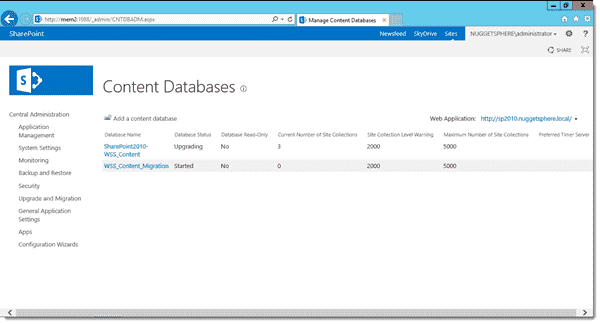 Content database migration