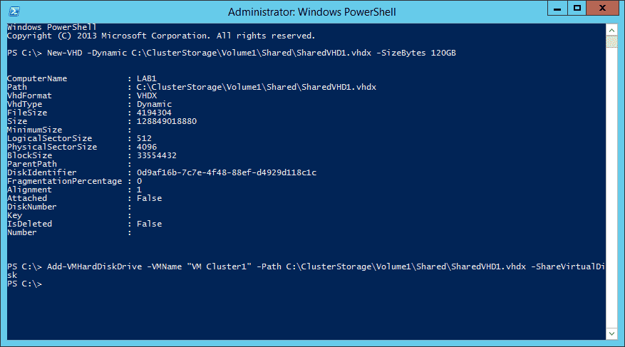 Hyper-V Cluster with Shared VHD – Create VHDX files and