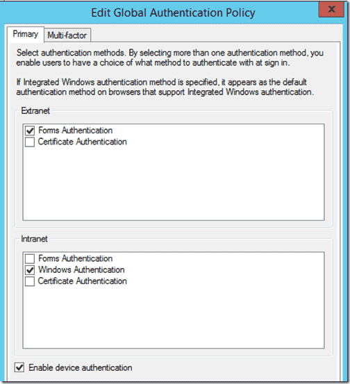 Device Authentication within Active Directory Federation Services