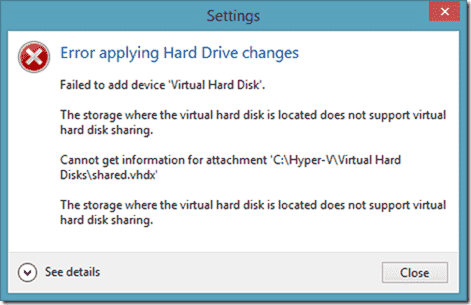 Failed to add device Virtual Hard Disk