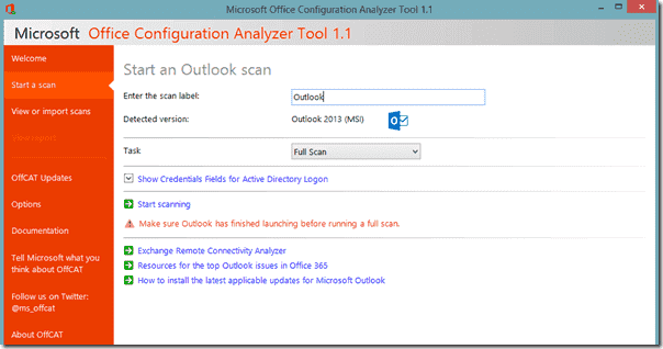 Getting ready to scan Outlook