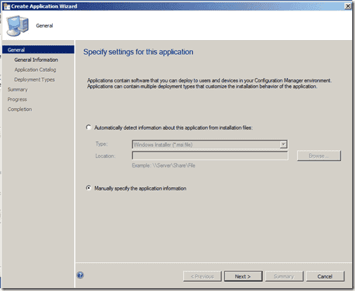 Manually specify the application information