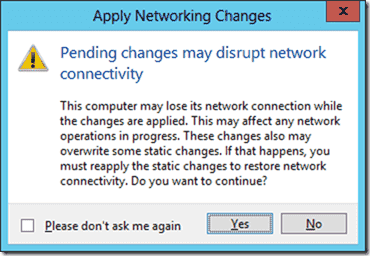 Pending changes will disrupt network connectivity