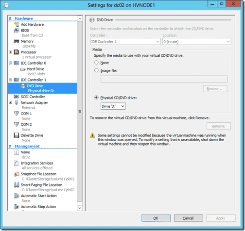 Select the DVD drive connected to IDE Controller 1