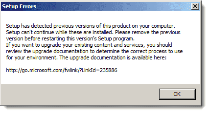 Setup has detected previous versions of this product on your computer
