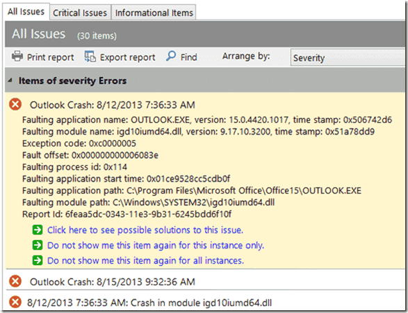 Two recent Outlook crashes